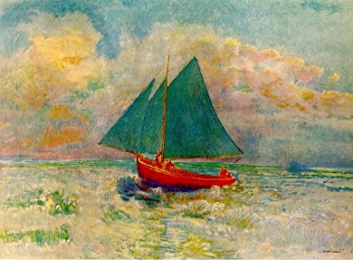 odilon redon red boat with blue sails